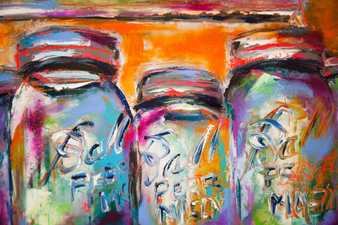 Oil painting on linen of mason jars
