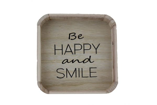 Square Bamboo Tray - Be Happy And Smile - BuyAbility South Africa