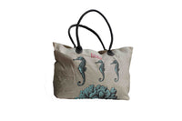 Beige Beach Bag with Sea Horse Print - BuyAbility South Africa
