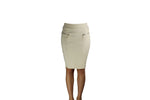 Beige Skirt with Golden Zips - BuyAbility