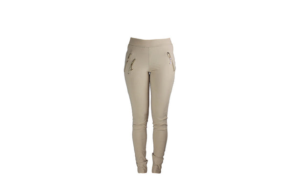 Ladies Long Beige Stretch Pants