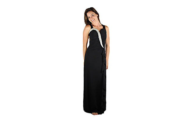 Long Black Evening Dress with Silver Sparkle - BuyAbility