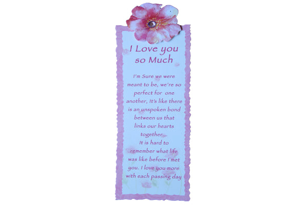 Pink Flower – Handmade Bookmark with 'I Love you so much' Script - BuyAbility South Africa