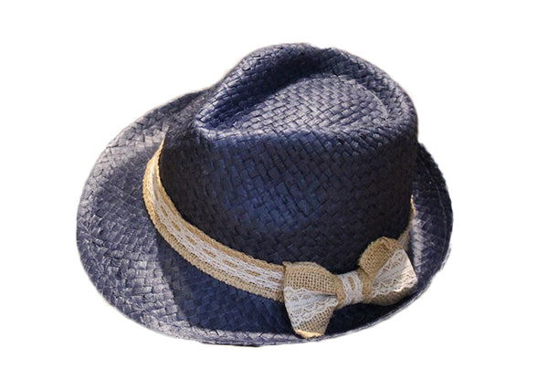Blue Woven Bowler Hat with Rustic Bow
