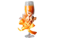 Champagne Scented Candle Glasses with Flower Ribbon – Orange, Floral Bouquet Aroma - BuyAbility South Africa