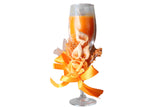 Champagne Scented Candle Glasses with Flower Ribbon – Orange, Floral Bouquet Aroma - BuyAbility