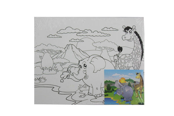 Elephant and Giraffe - Canvas Painting Activity - BuyAbility South Africa