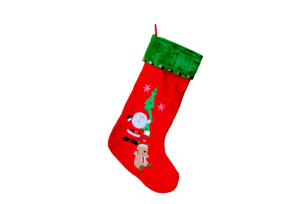 Extra Large Christmas Stocking with Santa, Reindeer & Bells (600mm x 440mm) - BuyAbility South Africa