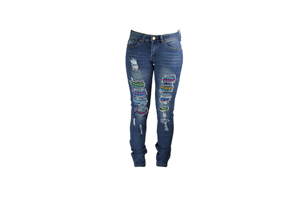 Jeans with Colourful Rip