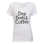 Dogs, Books & Coffee - Ladies - T-Shirt - BuyAbility South Africa