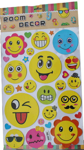 Emoji Faces with Smiley Flowers Wall Stickers - BuyAbility South Africa