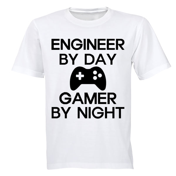 Engineer by Day - Gamer by Night - Adults - T-Shirt - BuyAbility South Africa