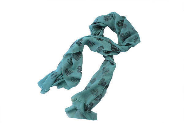 Scarf Print - Heart - Green
