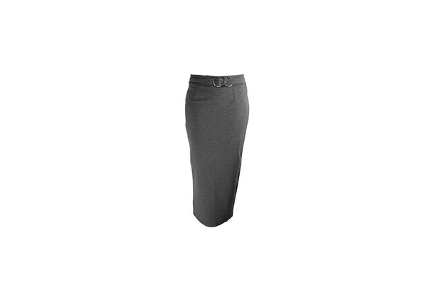 Long Grey Pencil Skirt with Silver Belt Accessory - BuyAbility