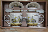 Bicycle Colosseum Coffee Gift Box - with 2 Printed Cups, Saucers & Spoons - BuyAbility South Africa