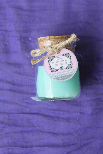 Mini Rustic Scented Candle Jar – Teal, Breeze Aroma - BuyAbility