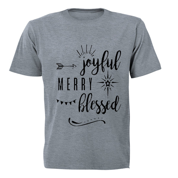 Joyful - Merry - Blessed - Adults - T-Shirt