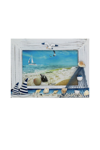 Landscape Nautical Photo Frame with Sailing Boats