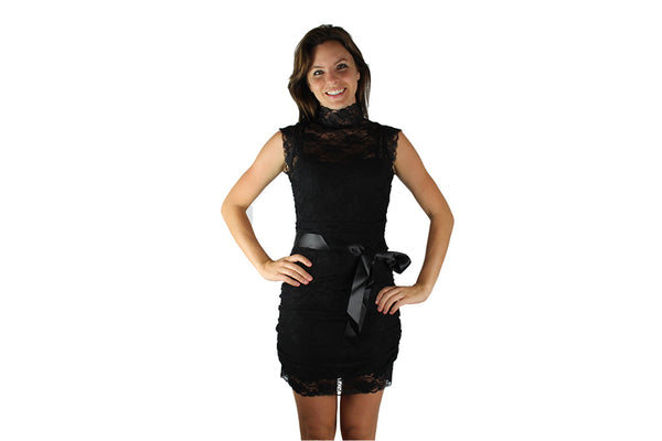 Black Lace Cocktail Dress with Black Bow - BuyAbility