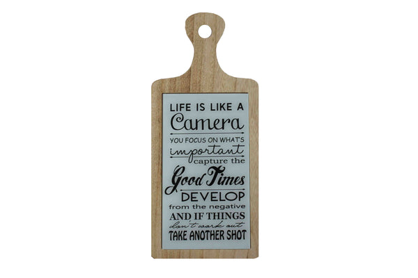 'Life is Like A Camera' Wooden Board with Glass - BuyAbility