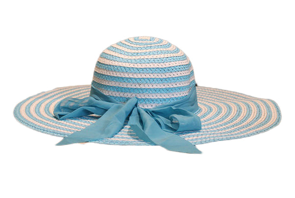 Striped White & Light Blue Beach Hat - BuyAbility South Africa
