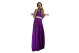 Long Purple Evening Dress with Silver Sparkle - BuyAbility South Africa