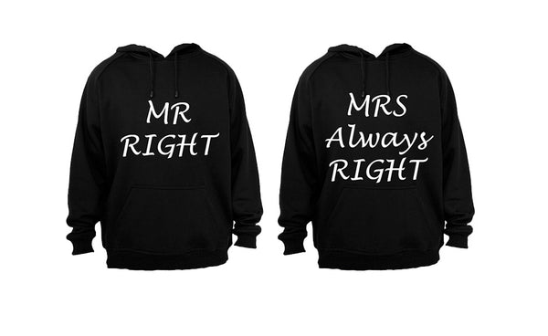 Mr Right & Mrs Always Right - Couples Hoodies (1 Set) - BuyAbility South Africa