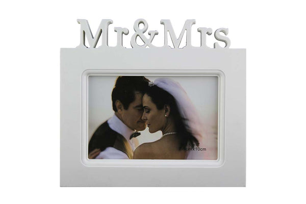 Mr & Mrs, White Photo Frame
