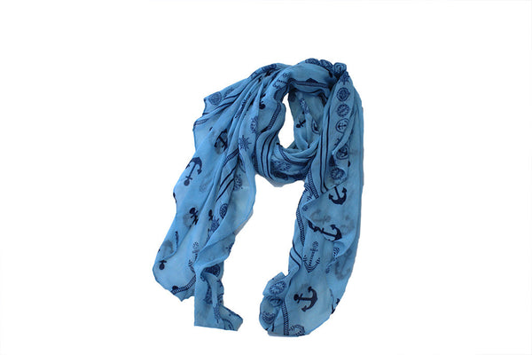 Scarf Print - Anchor - Light Blue