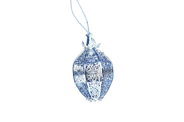 Handmade Silver Pear Christmas Tree Decoration - BuyAbility