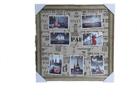 Photo Frame - Peg line (7 Photos) - Brown & Gold Frame with Paris wording background - BuyAbility