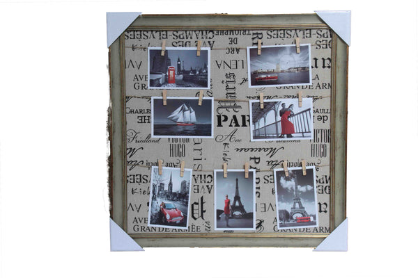 Peg line Brown & Gold Photo Frame (7 Photos) - with Paris wording background (550mm x 550mm) - BuyAbility