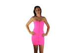 Luminous Pink Cocktail Dress with Front Zipper & Lace Design - BuyAbility South Africa