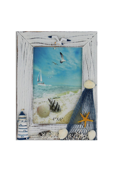 Portrait Nautical Photo Frame with a Lighthouse & Starfish
