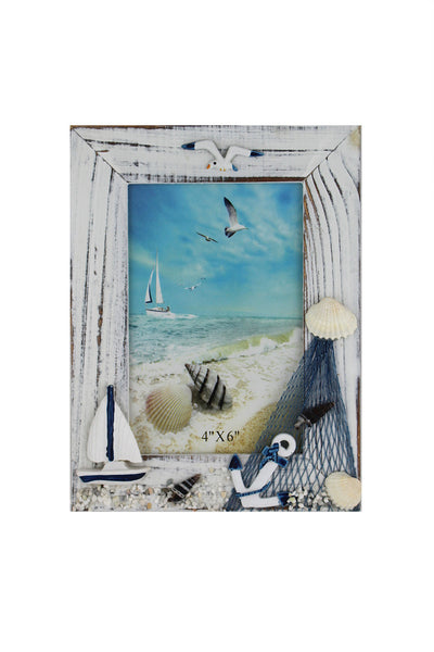 Portrait Nautical Photo Frame with a Sailing Boat & Anchor