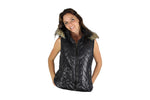Black Sleeveless Puffer Jacket with faux fur trim collar and hood - BuyAbility South Africa