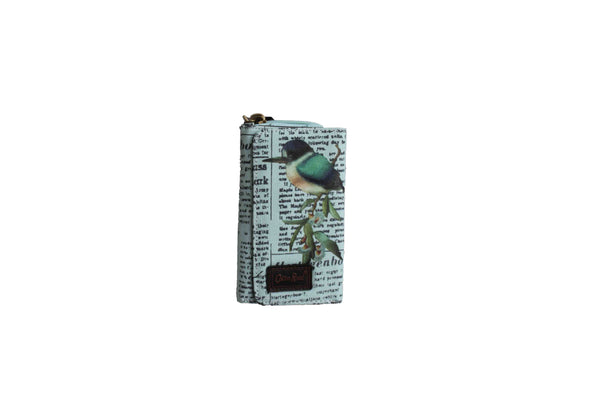 Blue Compact Purse with Newspaper Design & Bird Detail (150mm x 90mm) - BuyAbility
