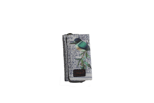 Grey Compact Purse with Newspaper Design & Bird Detail (150mm x 90mm) - BuyAbility South Africa