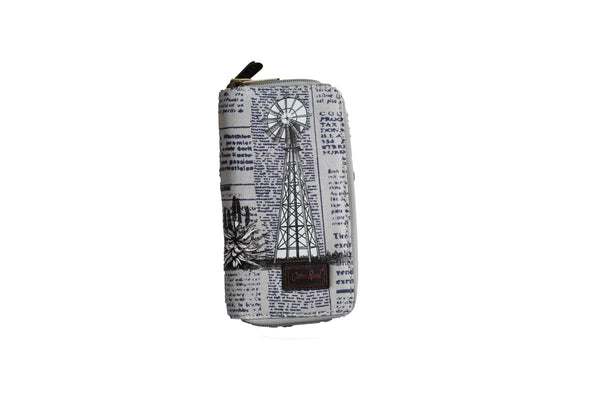 Grey Large Purse with Newspaper Design & Windmill Detail (200mm x 100mm) - BuyAbility South Africa