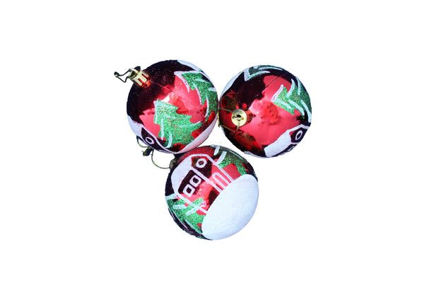 Red Decorated Christmas Tree Decoration Snow Bauble (Set of 6) - BuyAbility