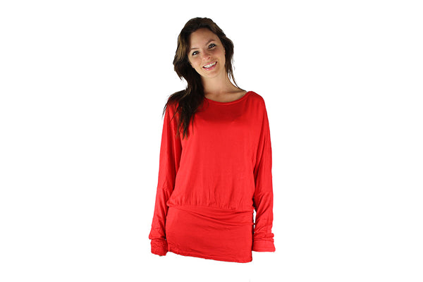 Red Long Sleeve Top With Lace Backing