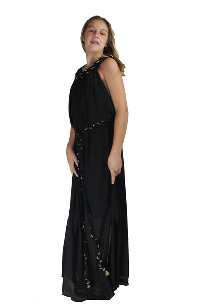 Long Black Dress with Rope Detail - BuyAbility
