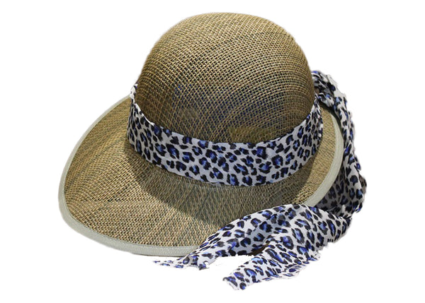 Safari Hat with Blue Leopard Print