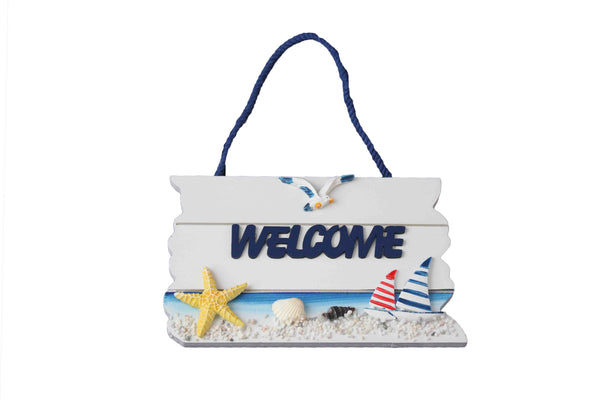 Star Fish and Sailing Boats Hanging Wooden Welcome Sign - BuyAbility