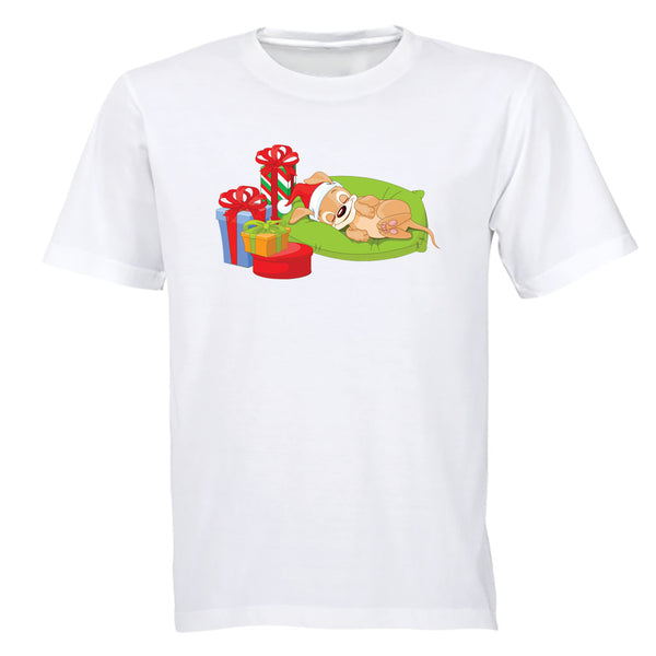 Sleeping Christmas Puppy - Kids T-Shirt - BuyAbility South Africa