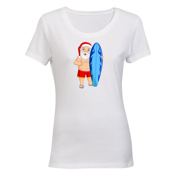 Surfer Santa - Christmas - Ladies - T-Shirt - BuyAbility South Africa