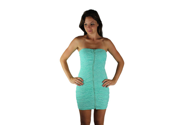 Luminous Teal Cocktail Dress with Front Zipper & Lace Design - BuyAbility South Africa
