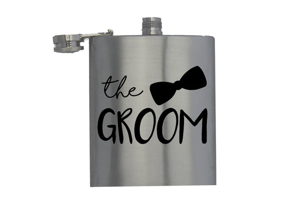The Groom - Bow Tie - Hip Flask