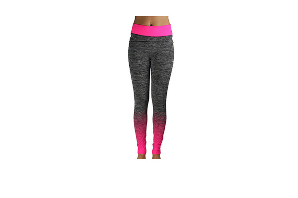 Pink Full Length Striped Gym Tights - BuyAbility