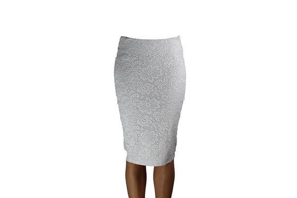 White Skirt with Lace Pattern Design
